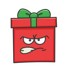 Angry present christmas gift box cartoon vector