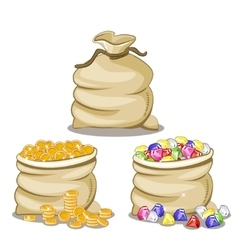 Bag full of Diamonds and coin vector