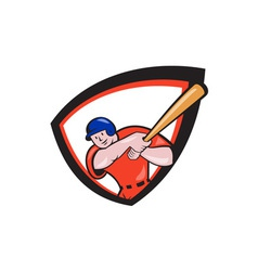 Baseball Player Batting Front Shield Cartoon vector image