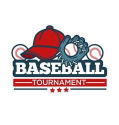 Baseball tournament icon template of player vector
