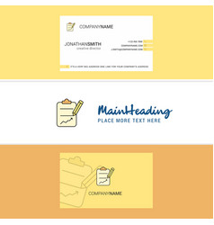 beautiful clipboard logo and business card vector image