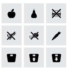 black diet icon set vector image