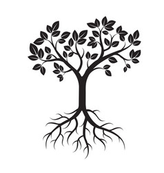 Black tree and leafs vector