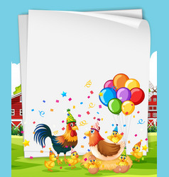 Blank banner with many chickens in party theme vector