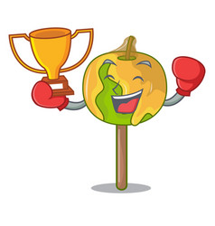 Boxing winner candy apple mascot cartoon vector