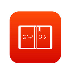 Braille icon digital red vector