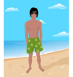 Brawny man on beach vector