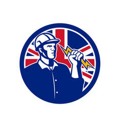 British power lineman union jack flag icon vector