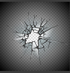 Broken window glass realistic daylight design vector