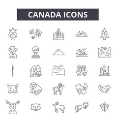 Canada line icons signs set outline vector
