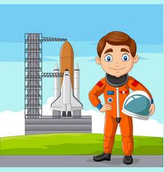 cartoon astronaut holding helmet with spaceship vector image