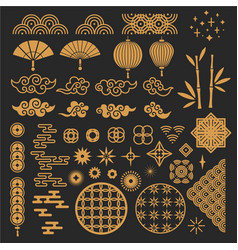 Chinese new year elements golden asian vector