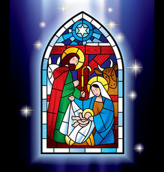 Christmas stained glass window vector image