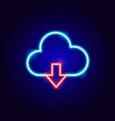 Cloud upload neon sign vector