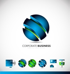 Corporate business blue 3d sphere logo icon design vector image