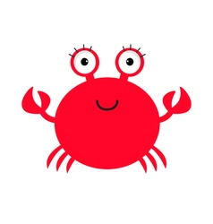 Crab icon Cute cartoon baby character Sea ocean vector