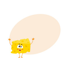 Cute and funny greeting welcoming cheese chunk vector