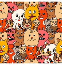Cute cats colorful background vector