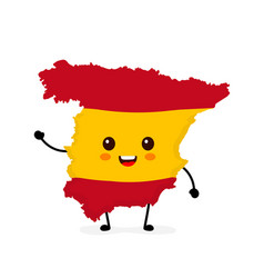 Cute funny smiling happy spain map vector