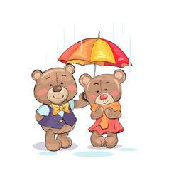 Cute teddy-bears stand under umbrella boy girl vector