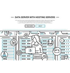 Data Server and Hosting - line design website vector image