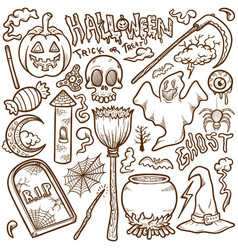 doodle halloween icon sets stock outline vector image
