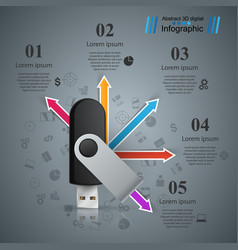 flash usb - business arrows infographic vector image
