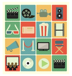 Flat icons movie vector