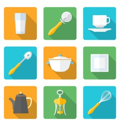 flat style design dinnerware icons set vector image