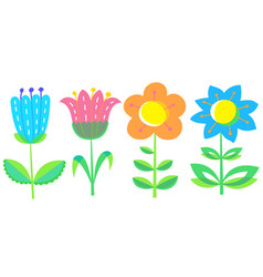 Floral set with tranparency elements design vector