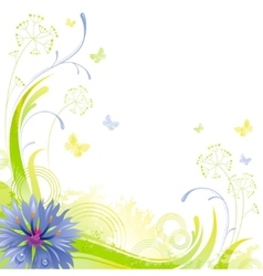 Floral summer background with blue cornflower vector