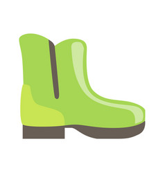 Green rubber boot isolated footwear flat icon vector