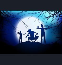 Halloween demons against a moonlit sky vector