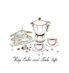 Hand drawn of moka pot with club sandwich vector