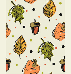 hand drawn seamless pattern with autumn vector image