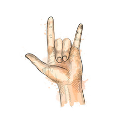 hand showing rock gesture from a splash vector image