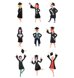 happy graduates set smiling graduation students vector image