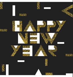 Happy New Year Postcard Golden Gold Geometric vector image