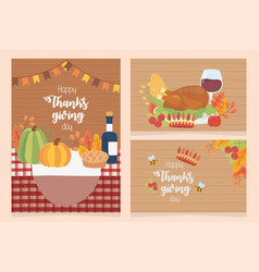 happy thanksgiving posters collection dinner vector image