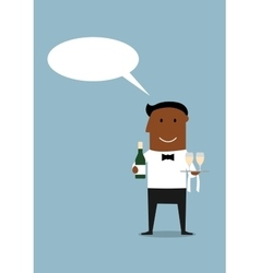 Happy waiter with bottle and wine glasses vector image vector image