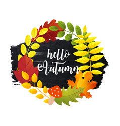 hello autumn greeting card with autumn leaves vector image