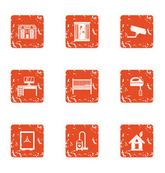 Homecare icons set grunge style vector