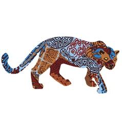 Jaguar in ethnic pattern indians vector