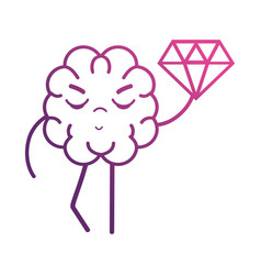 Line brain kawaii with dimond icon vector