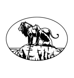 Lion family african landscape wildlife wildlife vector