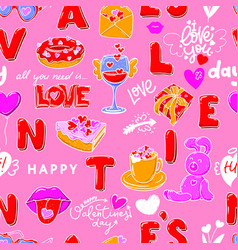 love seamless pattern with red letters sweets vector image