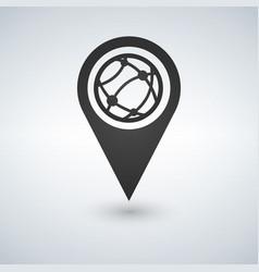 Map pointer globe internet flat icon vector