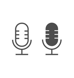 microphone line and glyph icon musical and audio vector image