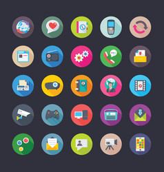 network and communications icons set vector image