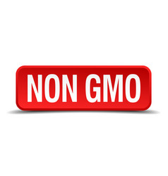 Non gmo red 3d square button isolated on white vector